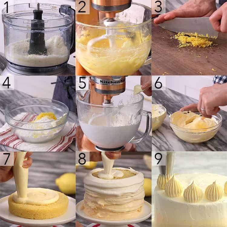A photo collage showing the steps to make a lemon cake