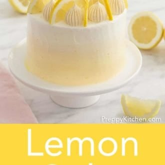 three layer lemon cake with lemon buttercream on a cake stand