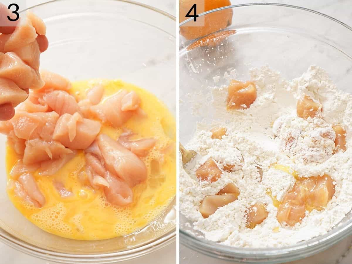 Two photos showing how to dip chicken in egg and then flour