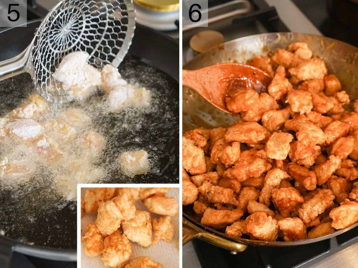 Two photos showing how to fry orange chicken and mix it with sauce