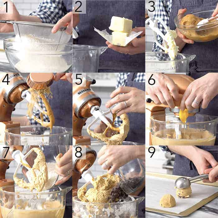A photo showing steps on how to make chocolate peanut butter cookies.