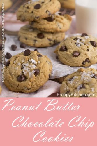 A pinterest image showing a group of peanut butter chocolate chip cookies next to a glass of milk
