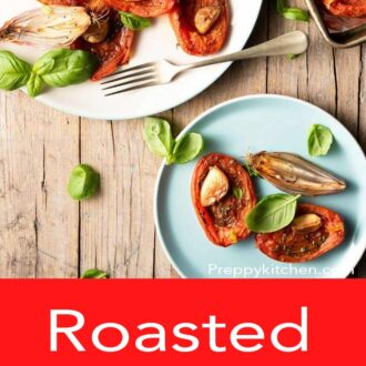 A pinterest graphic of roasted tomatoes