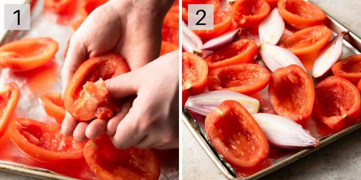 Two photos showing how to prepare tomatoes for roasting