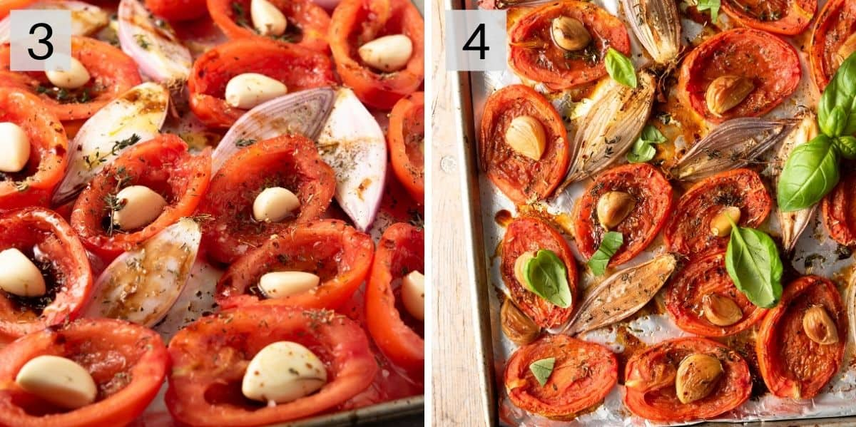 Two photos showing what tomatoes look like before and after roasting
