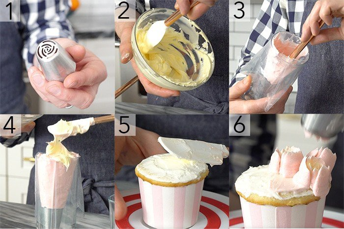 A photo grid showing the steps to pipe buttercream flowers with Russian piping tips.