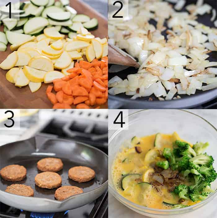 A photo grid showing the steps to make a veggie scramble