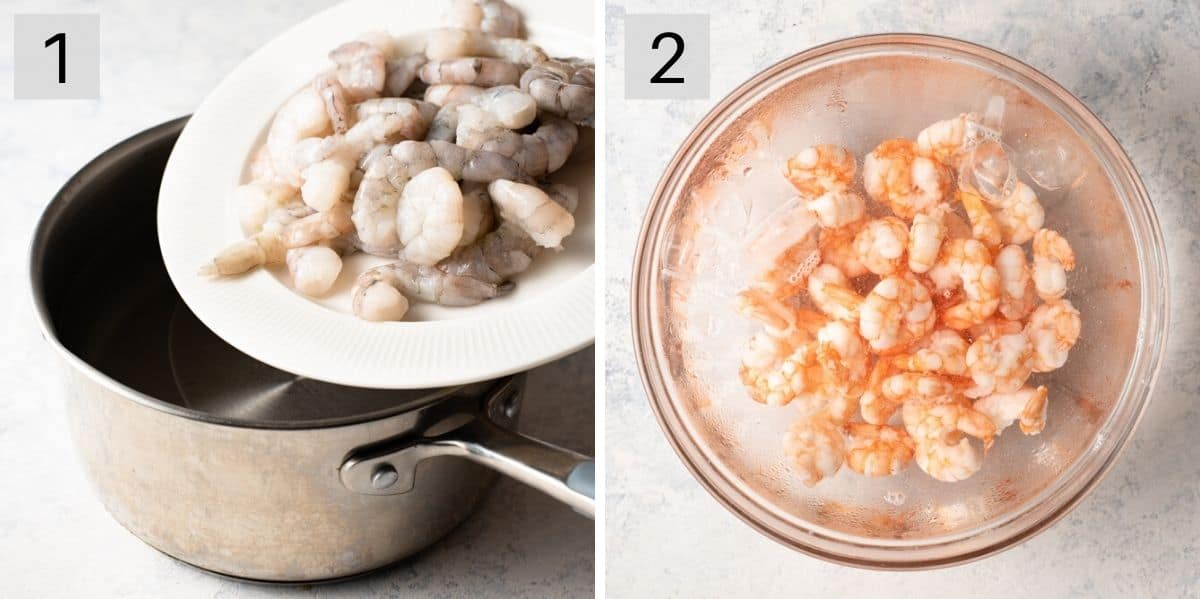 Two photos showing how to prepare shrimp