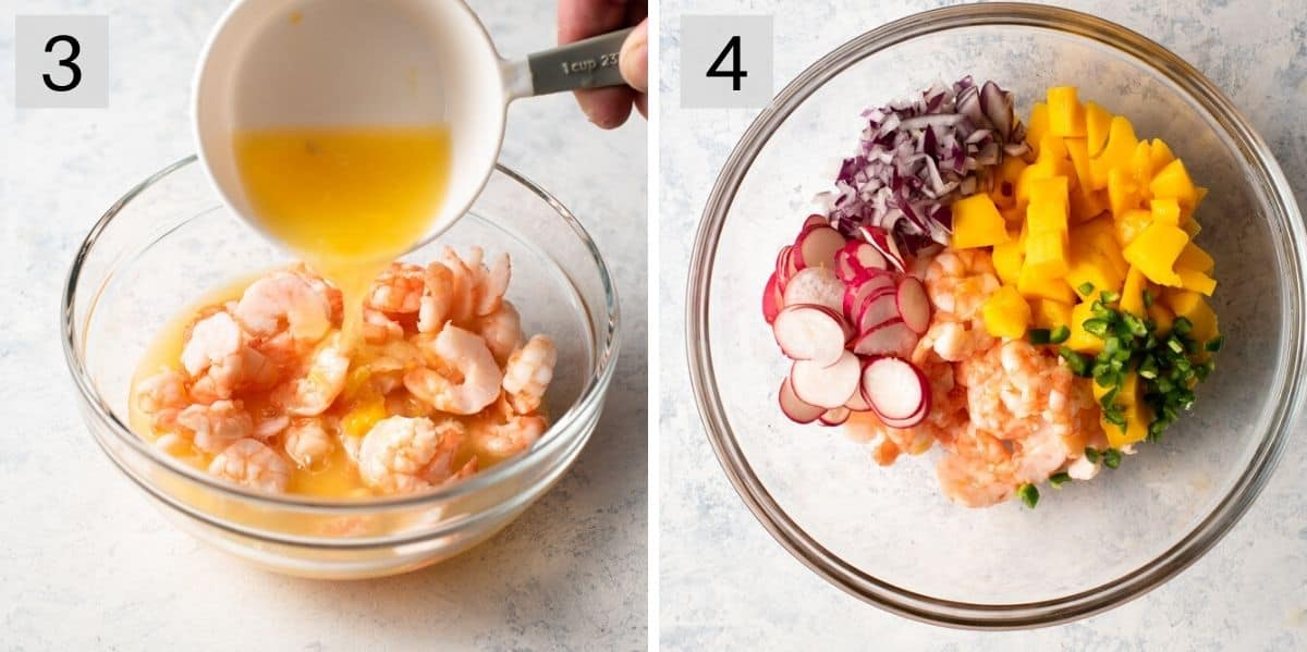Two photos showing how to marinate and assemble shrimp ceviche