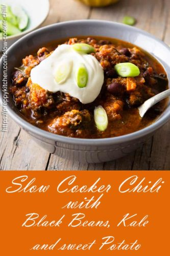 A pinterest image showing Slow Cooker Sweet Potato chili in a bowl
