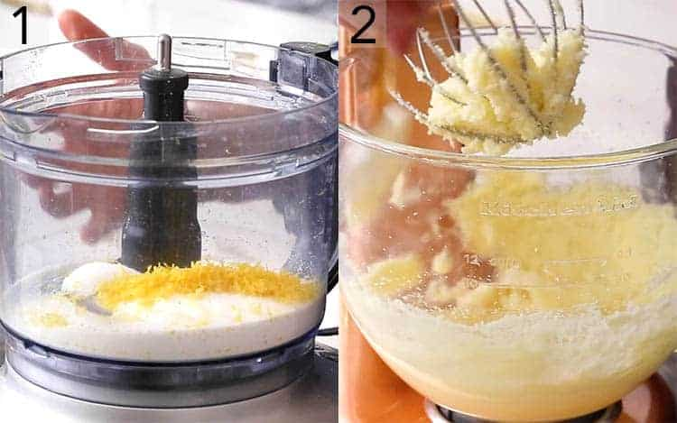 Lemon zest and sugar in the bowl of a food processor