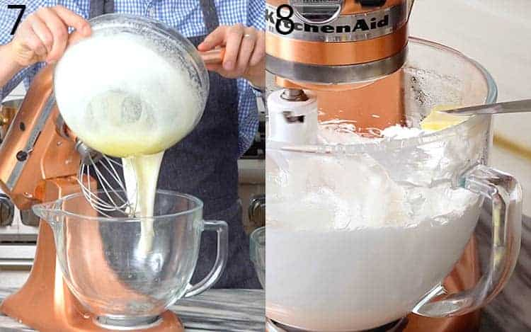 Two photos of Swiss buttercream being made.