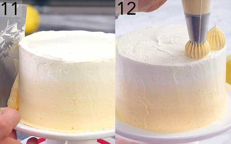 An almost complete lemon cake being smoothed and topped with dollops.