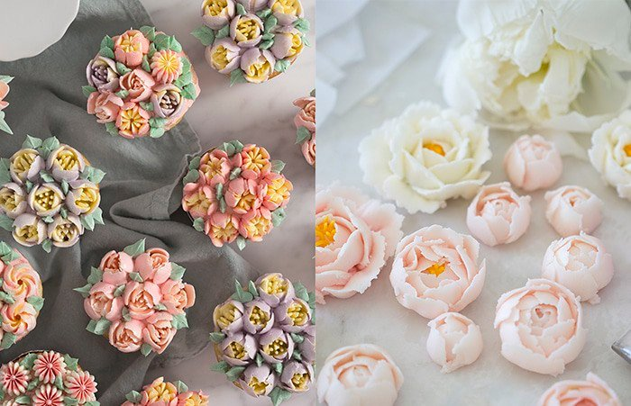 A side by side comparison of buttercream flowers made with Russian piping tips on the left and a petal tip on the right.