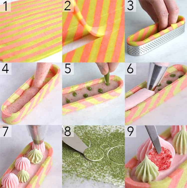 a photo collage showing the steps to make a strawberry matcha tart