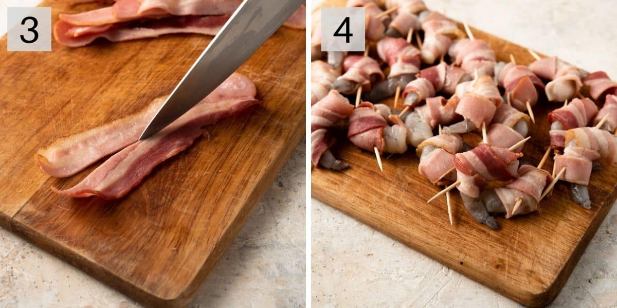Two photos showing how to wrap bacon around shrimp