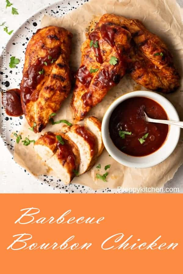 A collage image of barbecue bourbon chicken