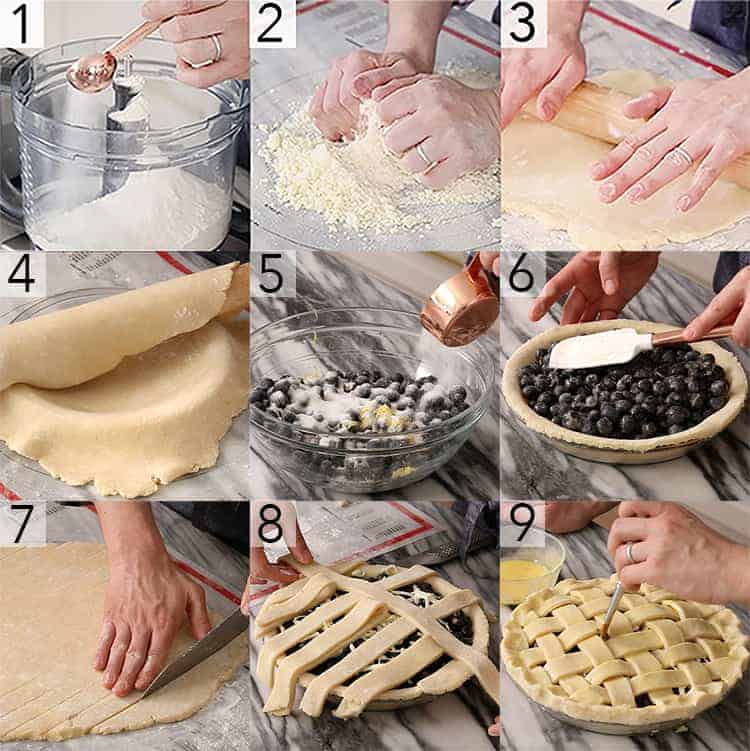 A photo grid showing the steps to make a blueberry pie