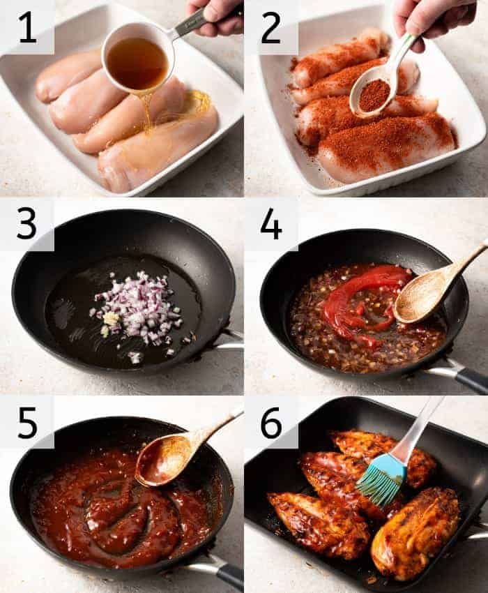 Step by step photos for making barbecue bourbon chicken