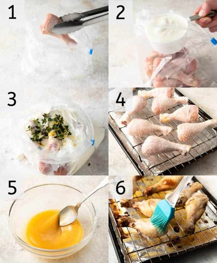 Step by step photos for making baked chicken legs with a buttermilk marinade