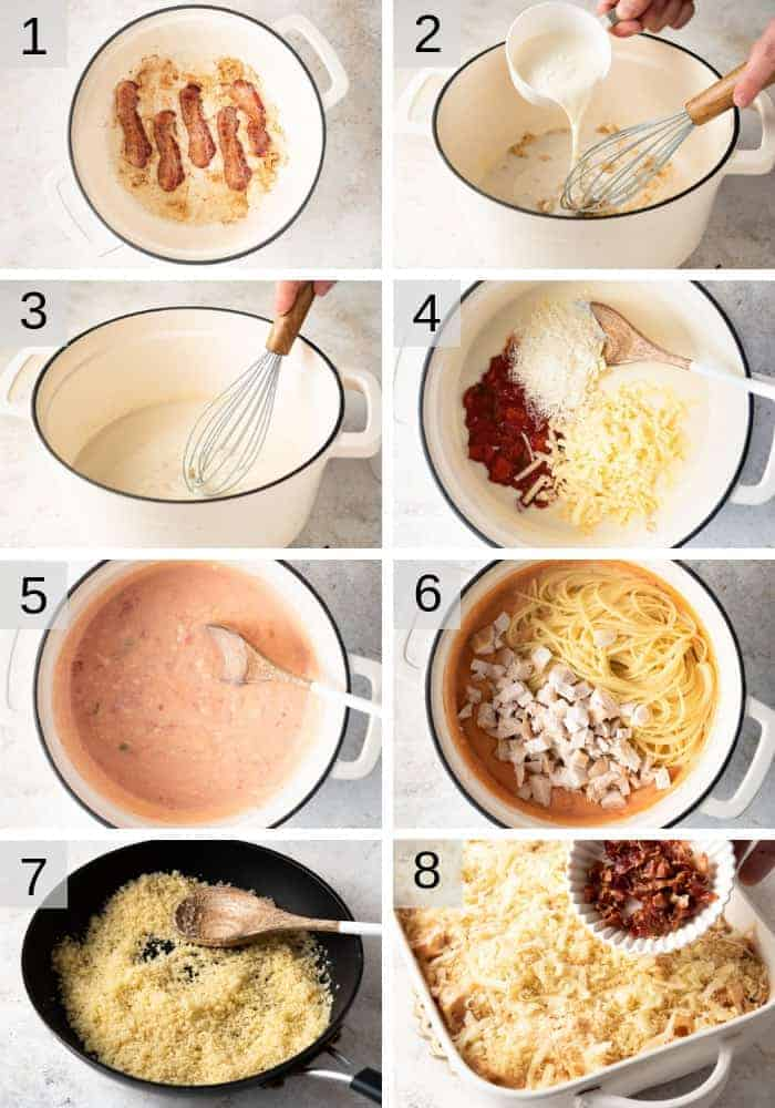 Step by step photos for making cheesy chicken spaghetti