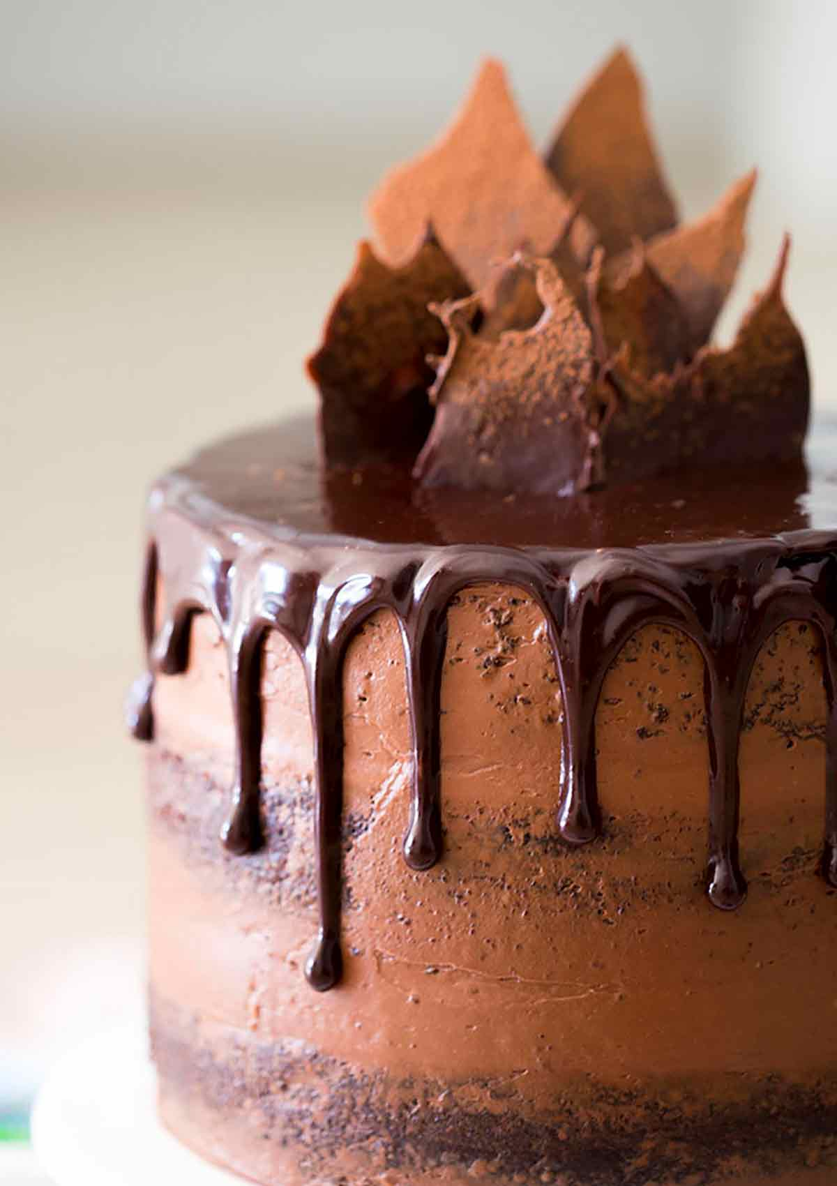 Chocolate zucchini cake with chocolate dripping over the top.