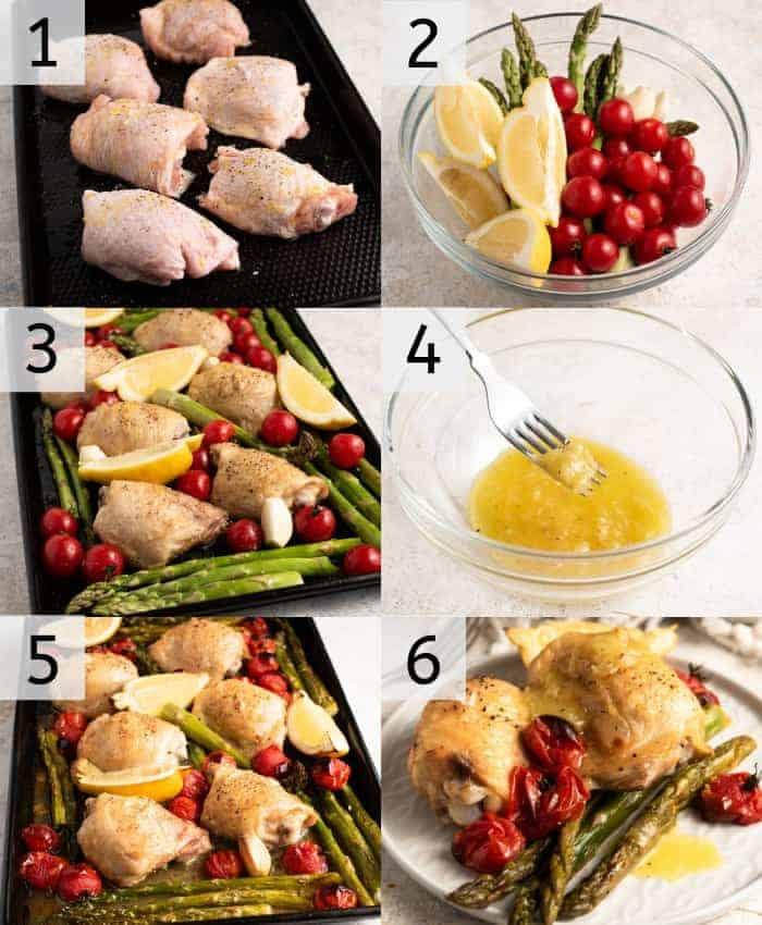 Step by step photos for making roasted chicken thighs