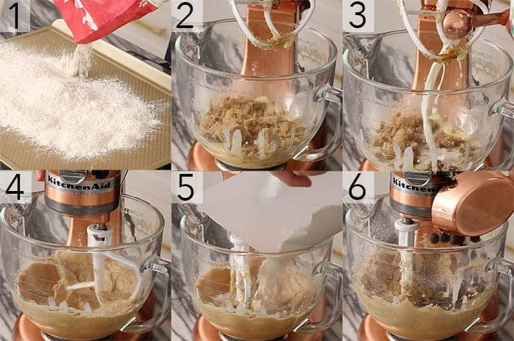 A photo collage showing the steps to make edible cookie dough.