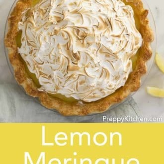 lemon meringue pie in a glass pie dish