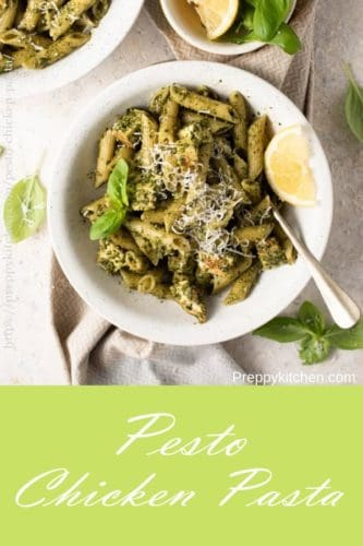 A collage image for pesto chicken pasta
