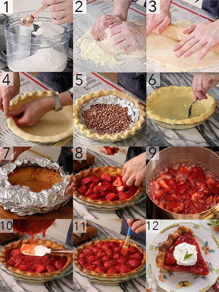 A photo collage showing the steps to make a strawberry pie