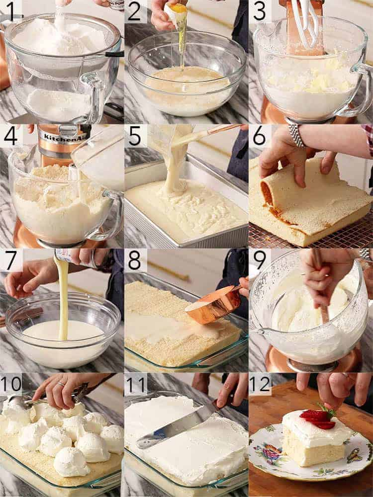 a photo collage showing the steps to make a tres leches cake