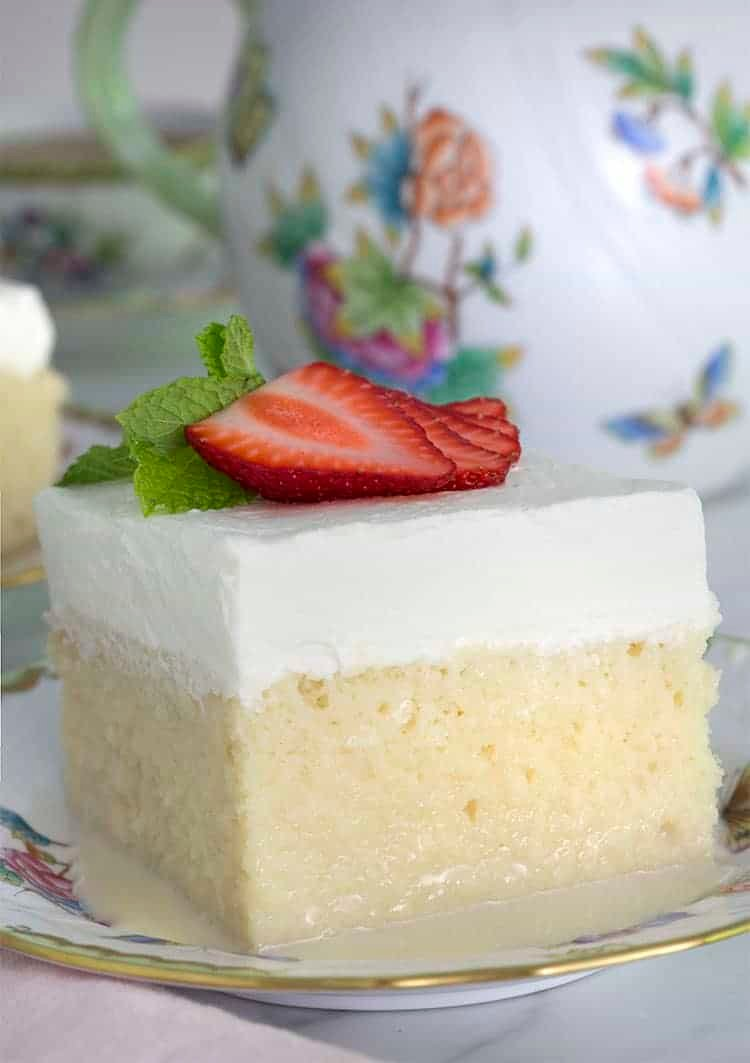 A square piece of tres leches cake in a painted porcelain plate.