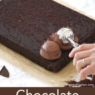chocolate sheet cake with chocolate frosting being added