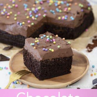 chocolate sheet cake with sprinkles