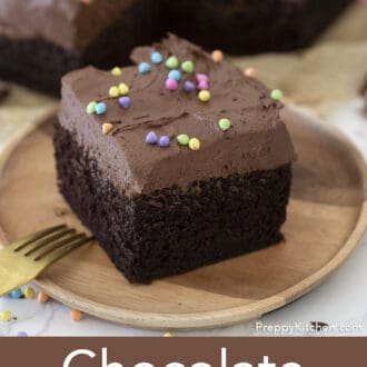 piece of chocolate sheet cake with sprinkles