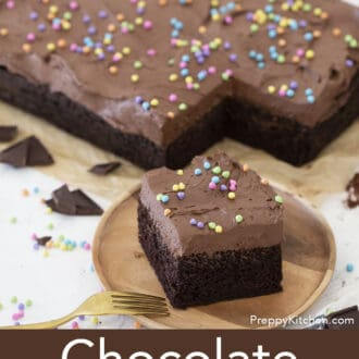 chocolate sheet cake with multi colored sprinkles