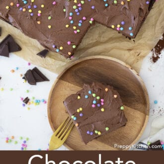 chocolate sheet cake with sprinkles