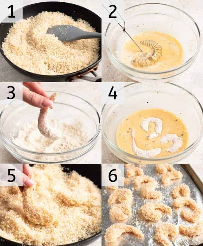 Step by step photos for how to make baked coconut shrimp