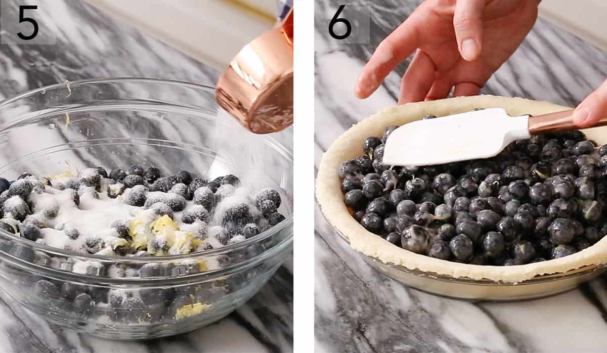 Blueberry pie filling getting mixed in a glass bowl.