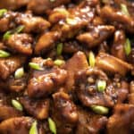 A close up of Bourbon Chicken sprinkled with green onions