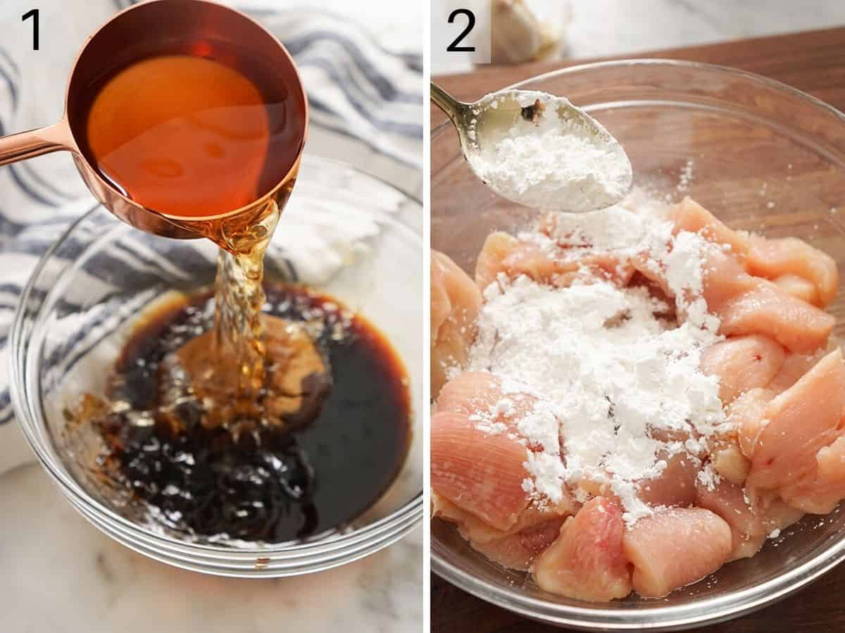 Two photos showing how to prepare the sauce and chicken to make bourbon chicken