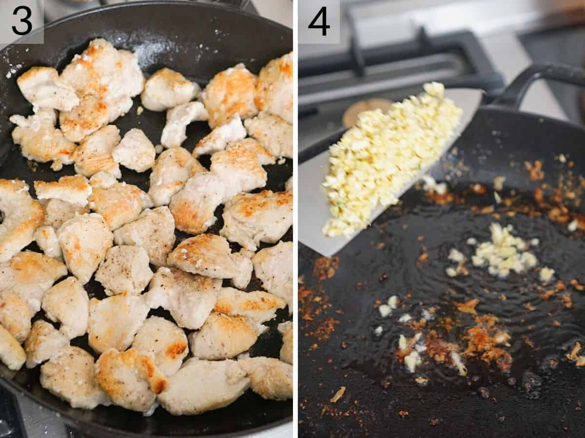 Two photos showing how to brown chicken and saute garlic