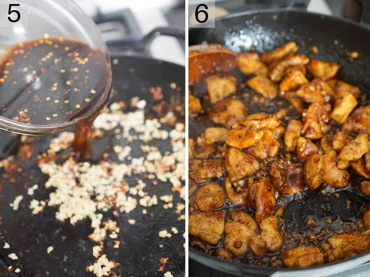 Two photos showing how to finish making bourbon chicken