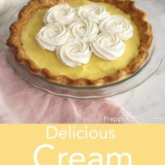 vanilla cream pie in a glass pie dish