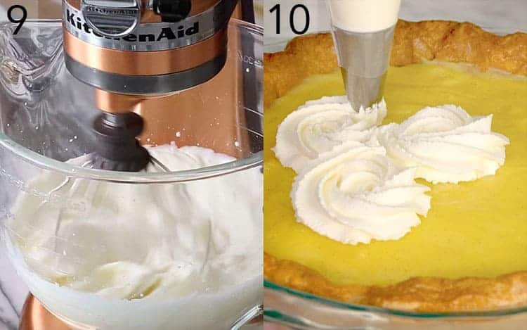 Two photos showing cream being whipped then piped onto a cream pie.