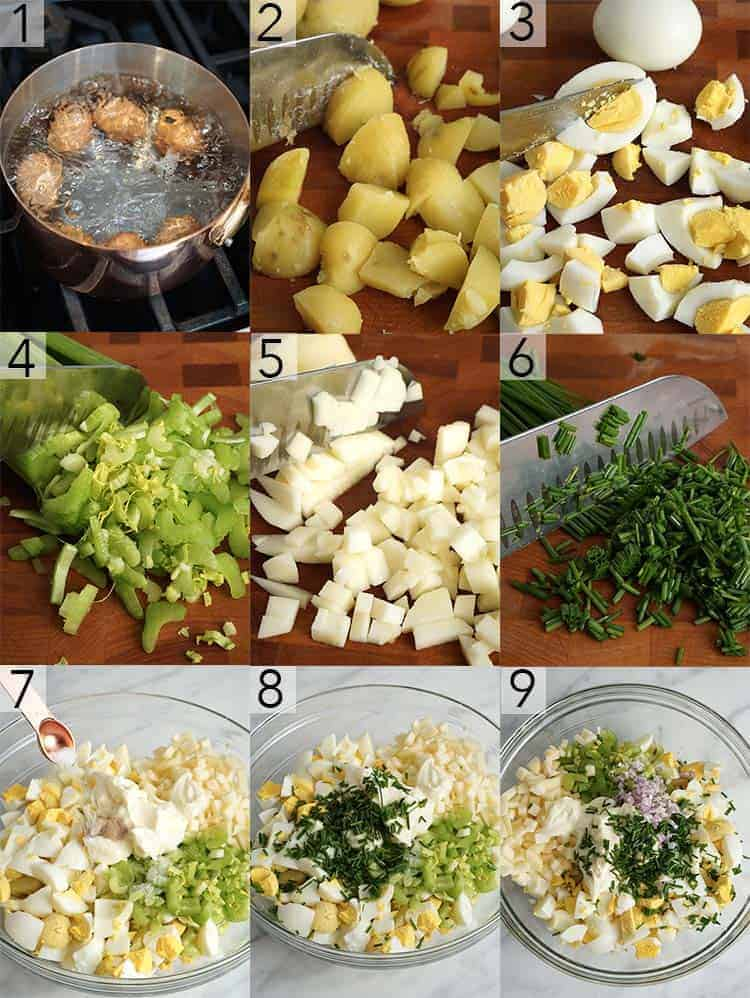 a photo grid showing the steps to make an egg salad