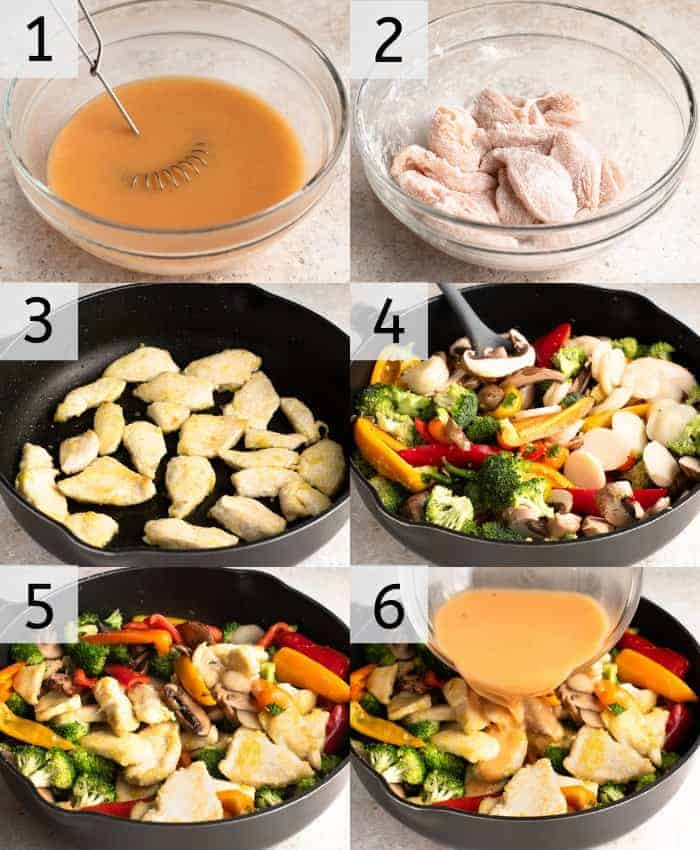 Step by step photos for making saucy Hunan Chicken