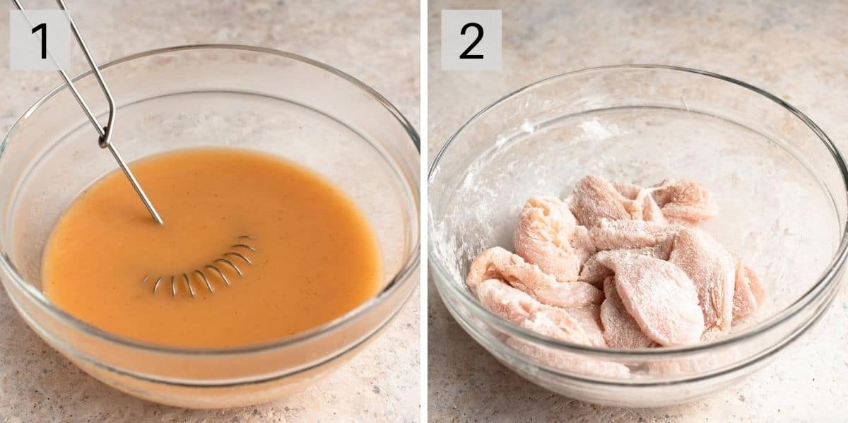 Two photos showing how to prepare the sauce and chicken to make Hunan chicken