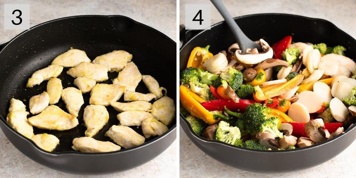 Two photos showing how to brown chicken and vegetables